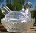 Estate Items 13 L E Smith Hen on Nest Crystal Carnival
