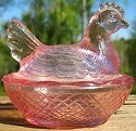 Estate Items 14 L E Smith Hen on Nest Pink