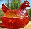 Estate Items 15 L E Smith Hen on Nest Red
