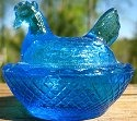 Estate Items 10 L E Smith Hen on Nest Aqua or Teal