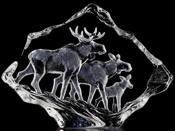 Mats Jonasson Crystal 33636 Moose Family
