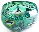 Ludvig Lofgren Crystal 56004 Peacock Bowl Ltd Ed 299 pcs Green