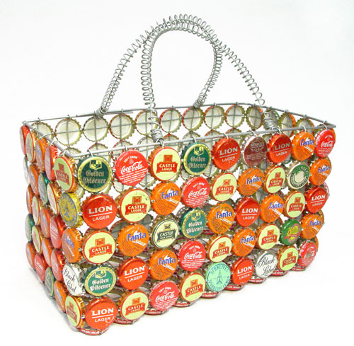 Bottlecap art from africa we carry every piece currently for Can beer bottle caps be recycled
