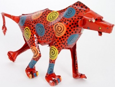 African Tin Animals PTABAB Baboon Painted Tin