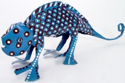 African Tin Animals PTACH Chameleon Painted Tin
