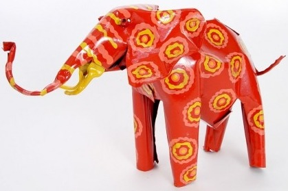 African Tin Animals PTAE Elephant Painted Tin