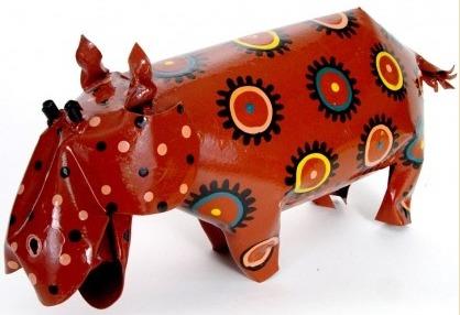 African Tin Animals PTAH Hippo Painted Tin