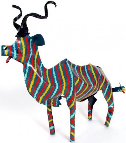 African Tin Animals PTAK Kudu Painted Tin