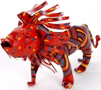 African Tin Animals PTAL Lion Painted Tin
