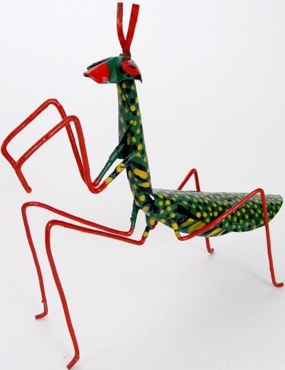 African Tin Animals PTAPM Praying Mantis Painted Tin