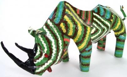 African Tin Animals PTAR Rhino Painted Tin