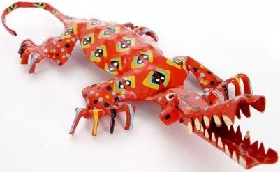 African Tin Animals PTASCROC Crocodile Painted Tin