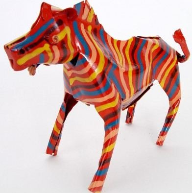 African Tin Animals PTASZ Zebra Painted Tin