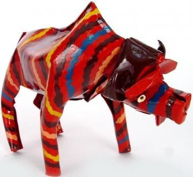 African Tin Animals PTASB Buffalo Painted Tin