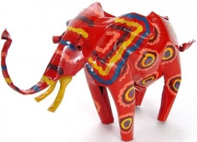 African Tin Animals PTASE Elephant Painted Tin