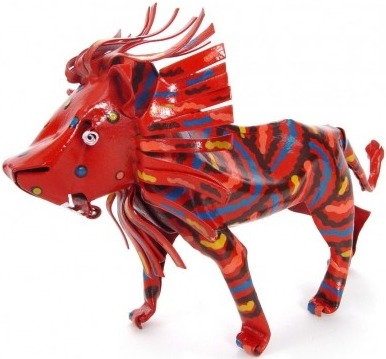 African Tin Animals PTASL Lion Painted Tin