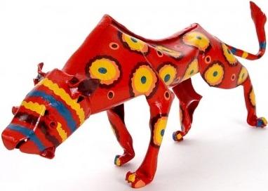 African Tin Animals PTASLEO Leopard Painted Tin