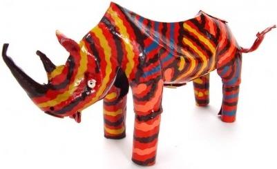 African Tin Animals PTASR Rhino Painted Tin