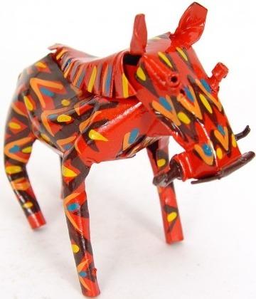 African Tin Animals PTASW Warthog Painted Tin