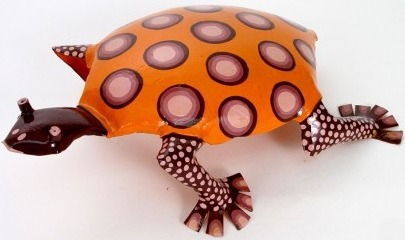 African Tin Animals PTATOR Tortoise Painted Tin