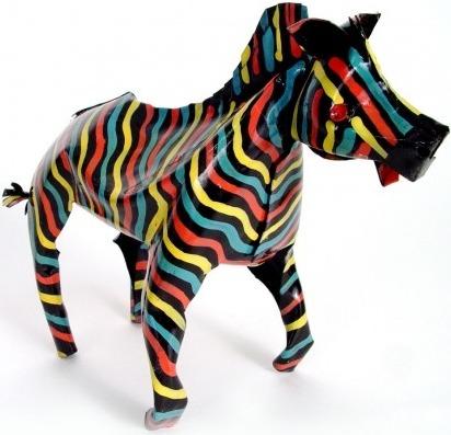 African Tin Animals PTAZ Zebra Painted Tin