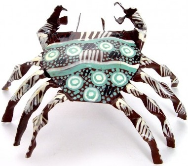 African Tin Animals PTICR Crab Painted Tin