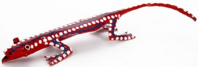 African Tin Animals PTILIZ Lizard Painted Tin
