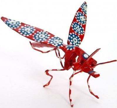 African Tin Animals PTIM Mosquito Painted Tin