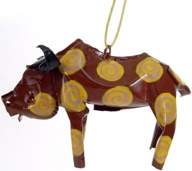 African Tin Animals PTOB Buffalo Painted Tin Ornament