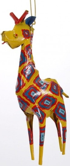 African Tin Animals PTOG Giraffe Painted Tin Ornament