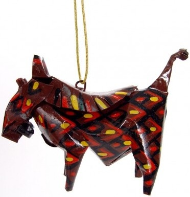 African Tin Animals PTOW Warthog Painted Tin Ornament