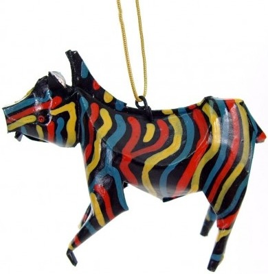 African Tin Animals PTOZ Zebra Painted Tin Ornament