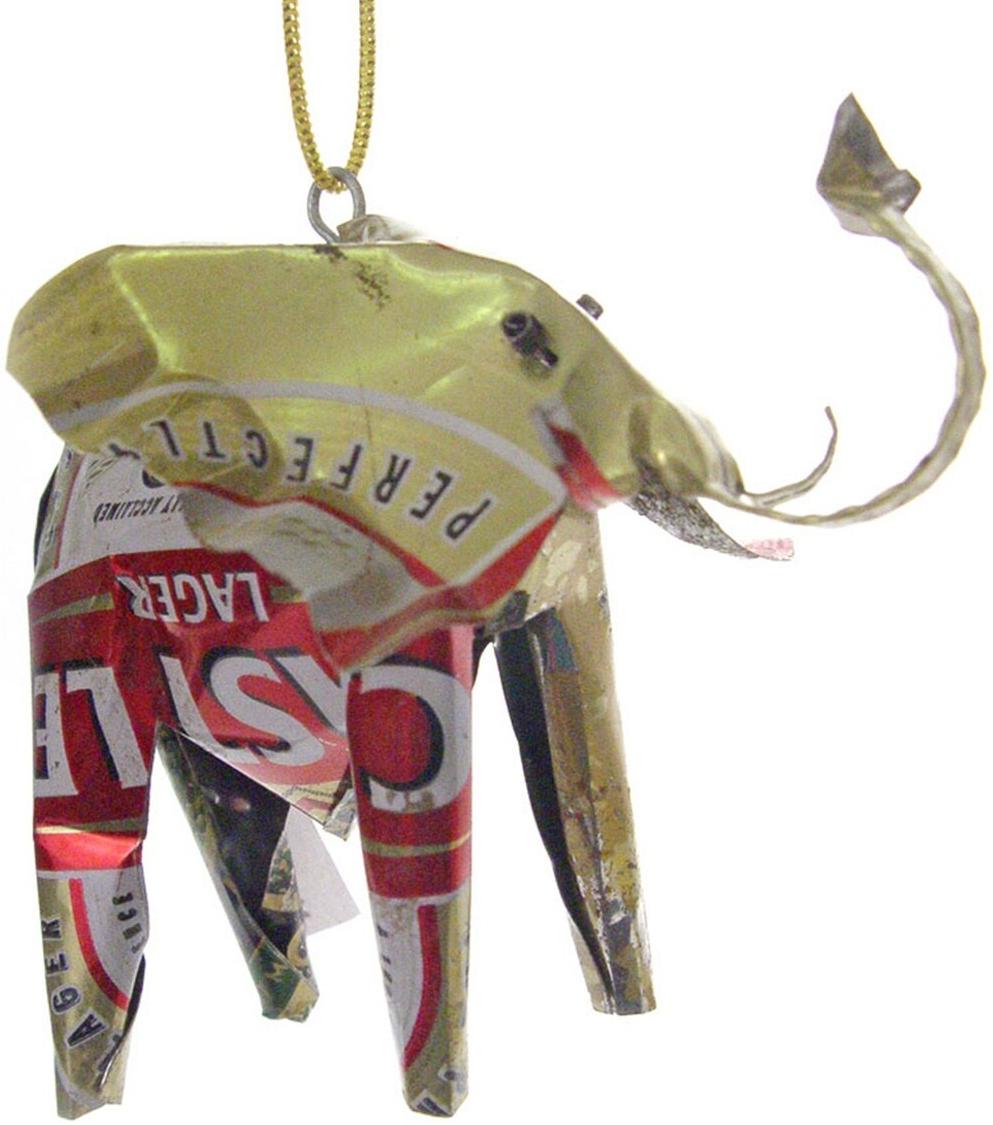 African Tin Animals TOE Elephant Unpainted Tin Ornament