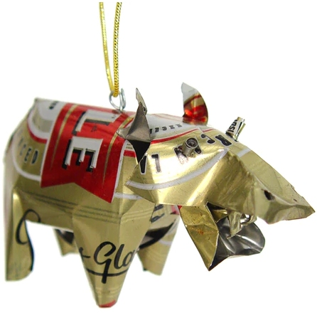 African Tin Animals TOH Hippo Unpainted Tin Ornament