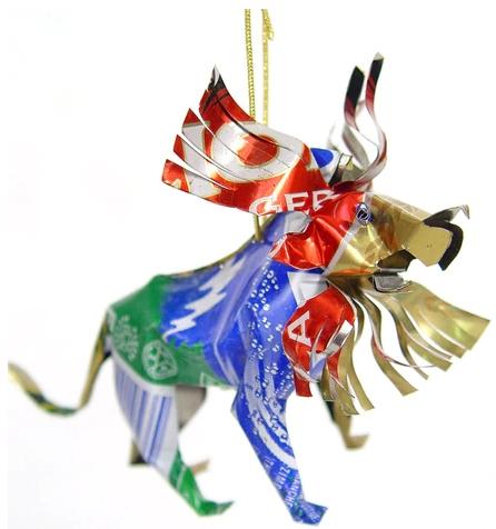 African Tin Animals TOL Lion Unpainted Tin Ornament