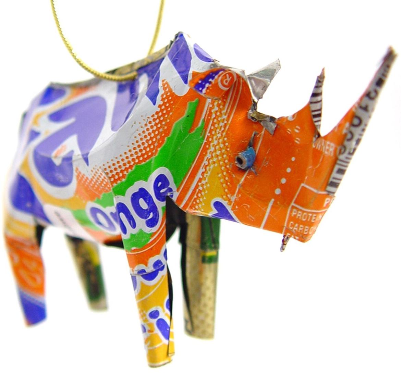 African Tin Animals TOR Rhino Unpainted Tin Ornament