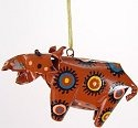 African Tin Animals PTOH Hippo Painted Tin Ornament