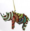 African Tin Animals PTOR Rhino Painted Tin Ornament