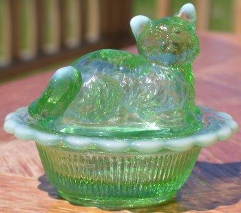 Mosser Glass 235GreenOpal Green Opal Cat on Basket