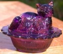 Mosser Glass 235Amethyst Cat on Basket 235 Amethyst