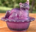 Mosser Glass 235AmethystStn Cat on Basket 235 Amethyst Satin