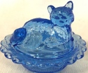 Mosser Glass 235Blue Cat on Basket 235 Blue