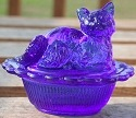 Mosser Glass 235Cobalt Cat on Basket 235 Cobalt Blue