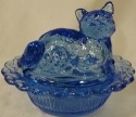 Mosser Glass 235ColonialBlue Cat on Basket 235 Colonial Blue