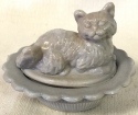 Mosser Glass 235DoveGray Cat on Basket 235 Dove Gray