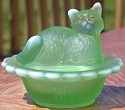 Mosser Glass 235GreenOpalStn Cat on Basket 235 Green Opal Satin