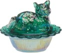 Mosser Glass 235HunterGreenCarn Cat on Basket 235 Hunter Green Carnival