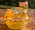 Mosser Glass 235Marigold Cat on Basket 235 Marigold