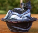 Mosser Glass 235PurpleSwirlStn Cat on Basket 235 Purple Swirl Satin