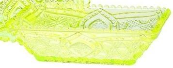 Mosser Glass 321Vaseline Vaseline Relish Tray Quilted Set